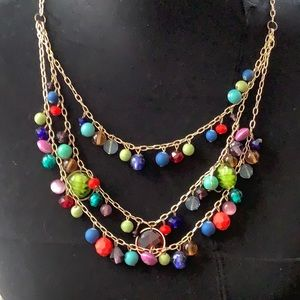 Multi colored beads with gold toned chain